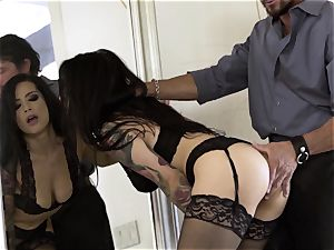 Nylons Sn trio super hot Katrina Jade plumbed doggie-style in stockings