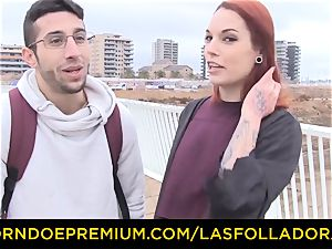 LAS FOLLADORAS - Silvia Ruby takes random stud for hookup