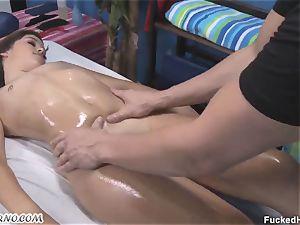 fleshy schoolgirl gets her puss lubed deep massage