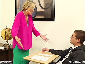 youthfull man nail his big-boobed adult schoolteacher during a lesson