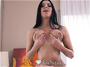 PureMature Triple threat Kira princess sucks and porks