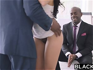 BLACKED super-fucking-hot Megan Rain Gets DP'd By Her Sugar father and His acquaintance
