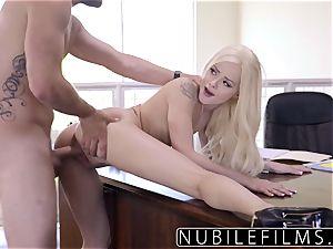 Elsa Jean Gives boss sloppy blowjob