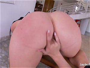big-chested pornographic star Jayden penetrates her warm ash-blonde gf