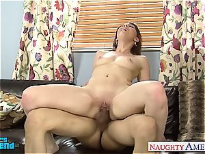 super-naughty Nickey Huntsman tongued out before gargling and fuckin'