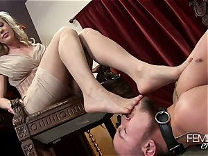 insane ginormous bosses Headmistress Brandi enjoy dominates her employee in the office
