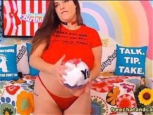 Enchanting obese brunette accomplice cam demonstrate