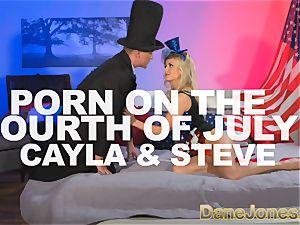 DaneJones light-haired celebrates freedom with Abe Lincoln
