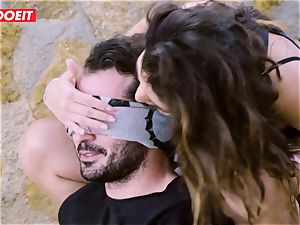 LETSDOEIT - porn industry stars nail a lucky man at the Beach