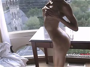 bony french Montreal pornography starlet shows toned fit bod
