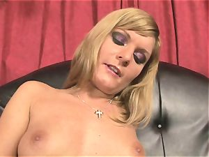 Pretty Victoria shine toying with a massive red faux-cock