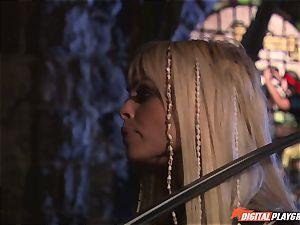 Circle of pirates watch insatiable lezzies Jenaveve Jolie and Carmen Luvana slurp out minge