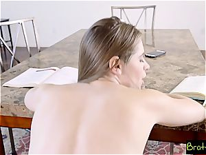 steaming sister tortures her step brutha by touching his meaty shlong