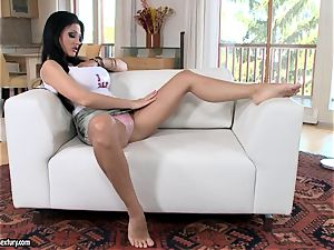 fantastic bitch Aletta Ocean gets super-steamy alone in the sofa playing with her vag