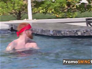 sans bra swinger girls at insane pool party