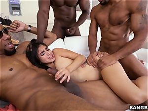 Michelle Martinez getting plowed by a blast of dark-hued cocks