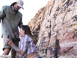 kinky mega-slut gets plumbed in the mountains with call girl