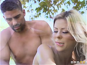 Alexis Fawx getting an outdoor pummel and massage