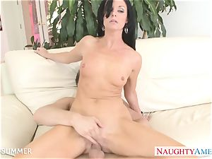 black-haired India Summer gets fuckbox pummeled