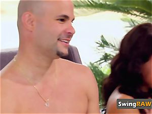 Couples unwrap their clothes off during meet and greet at living apartment