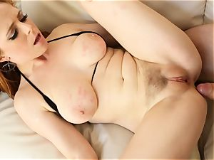 ginger-haired Penny Pax fucks with her furry puss