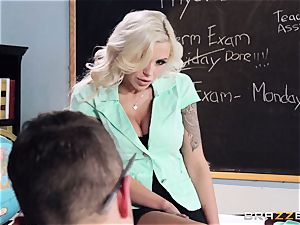 light-haired teacher Nina Elle puts this schoolgirl off his stride