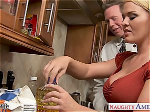 Krissy in the kitchen gargle and smashes until his shaft erupts