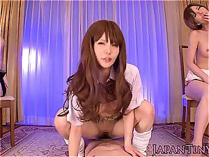 red-hot asian femmes taking turns on stud