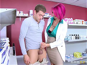 first-timer man tears up uber-sexy big-titted nurse Anna Bell Peaks in the pharmacy