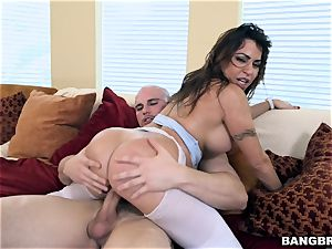 ample booty dark haired Julianna Vega bouncing on manmeat