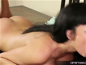 Airerose dark haired stunner Anissa Kate romps Some young stud
