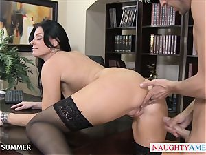 Stockinged India Summer humping on the desk