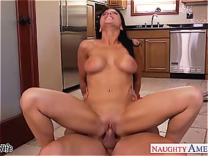 naughty Romi Rain takes his member deep inside her