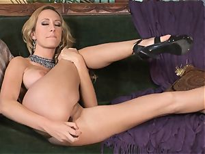 huge-chested blond Brett Rossi wanks in handsome red lace