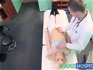 faux hospital timid patient with dousing wet cunt spray