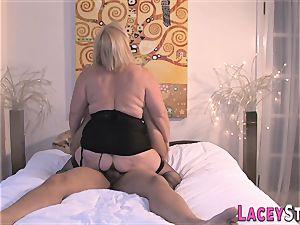grandma enjoys a thick stiff manhood in her labia