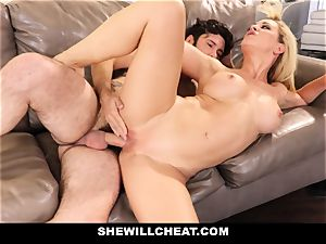 SheWillCheat cheating wifey Gags on pipe