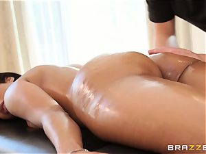 Mary Jean tearing up her fresh masseur