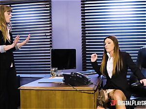 India Summers and Sunny Lane snatch tribbing action in the office