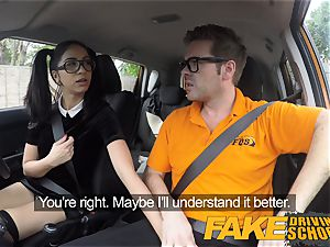 fake Driving school jaw-dropping Spanish Learner inhales