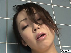 Solo big-titted japanese foolish touching on her moist cooch