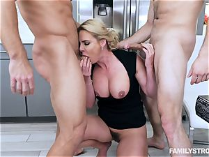 Phoenix Marie gets a warm threesome at the dinner table