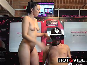 lesbians squirting on guy marionette in Public