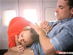 horny stewardess Alexis Adams penetrating with the passengers